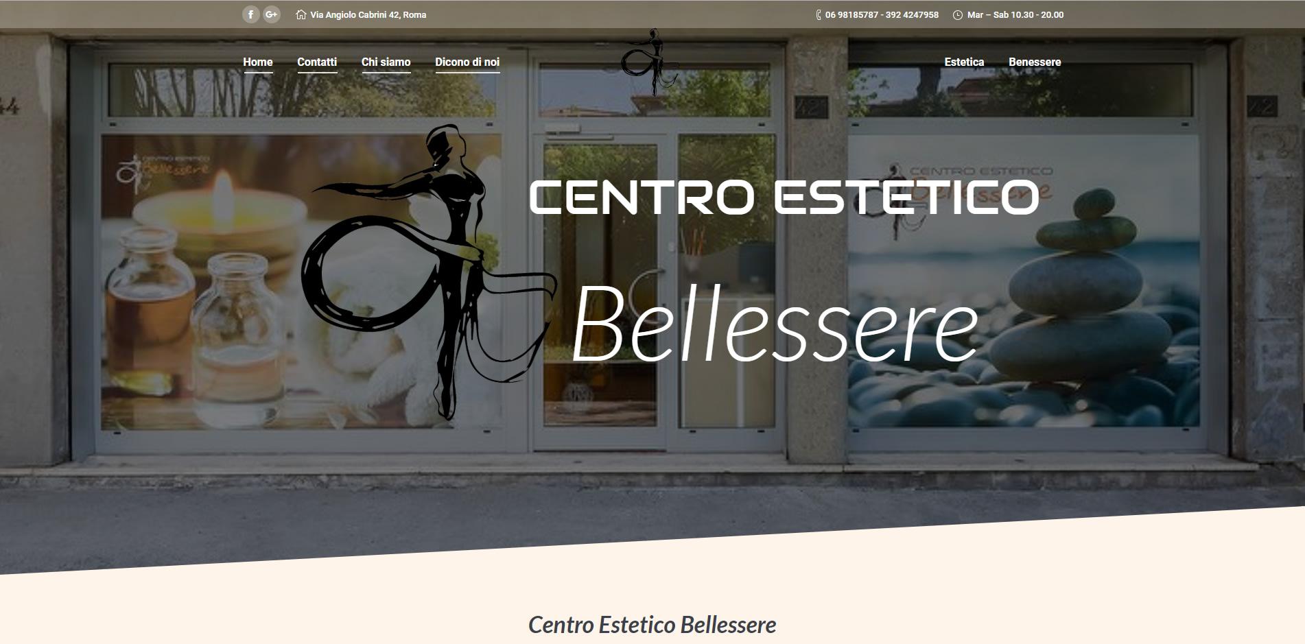 sito web in WordPress del centro estetico Bellessere agenzia web roma