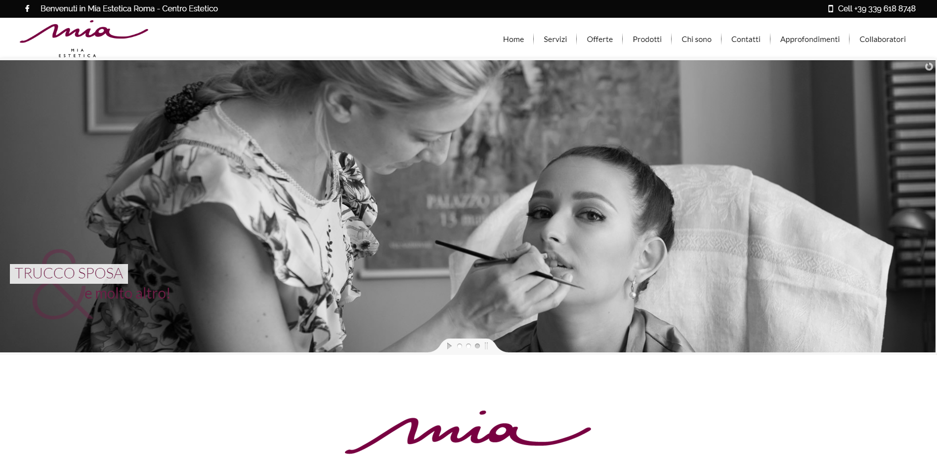 mia estetica sito web in wordpress