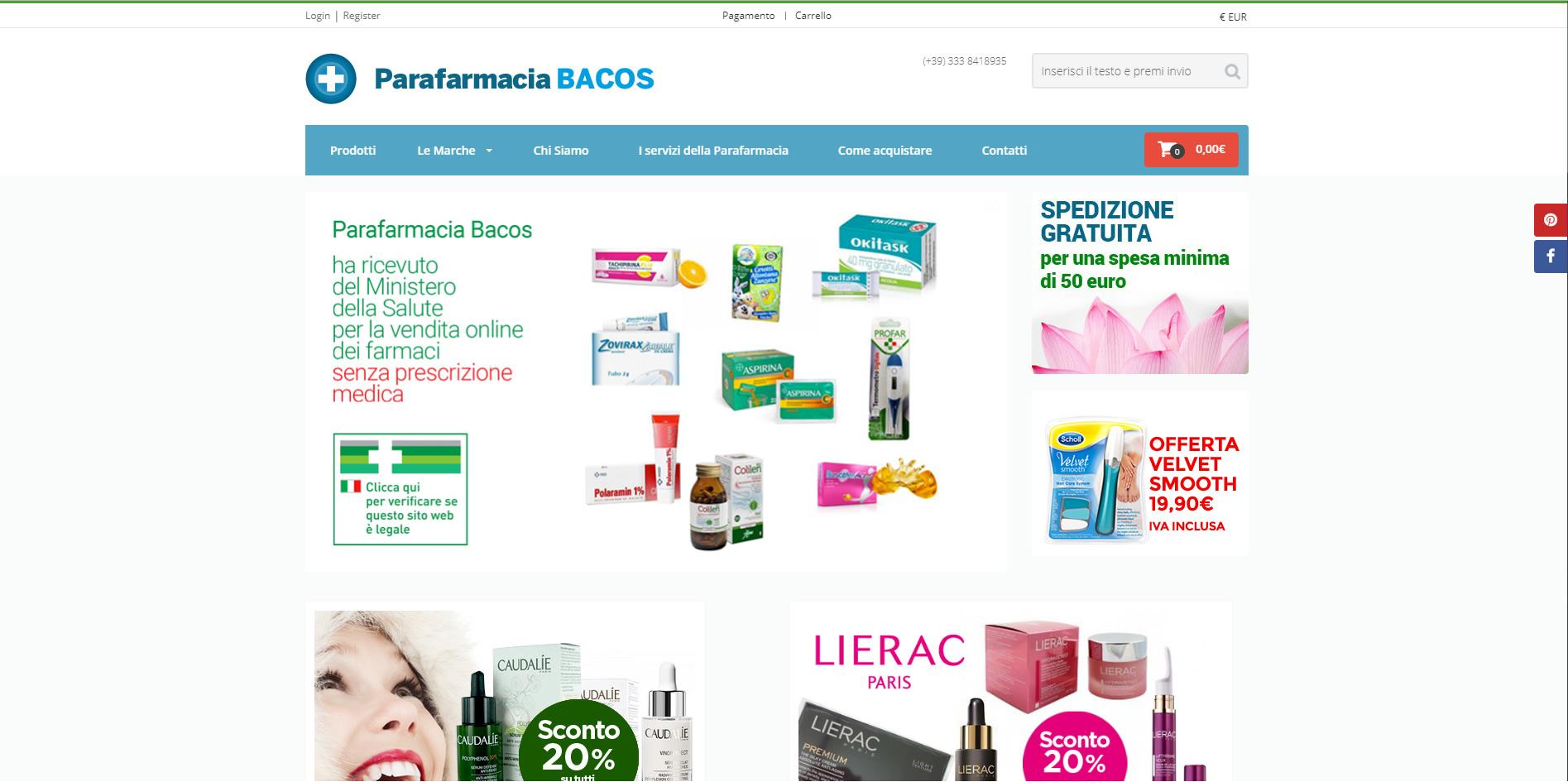 Parafarmacia Bacos E-commerce agenzia web roma