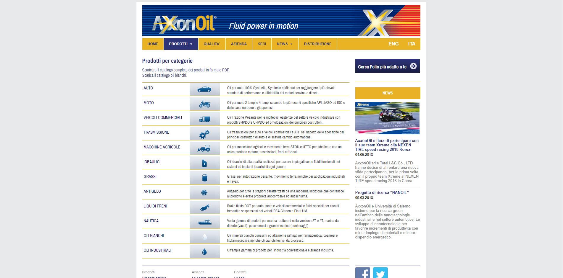 restyling grafico axxonoil agenzia web roma