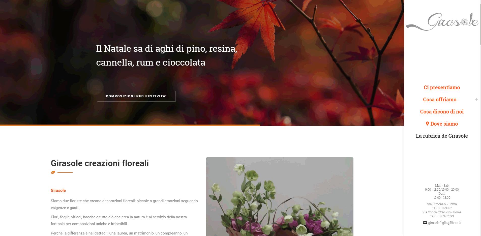 girasole un sito web fresco e dinamico per un fiorista creativo